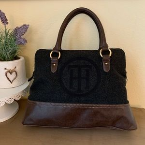 TOMMY HILFIGER Gray Wool & Brown Leather Bag